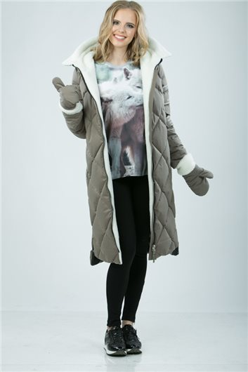 Пальто М-3421 Темно-бежевое