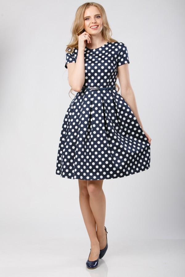 Платье М-325 синее в  горошек