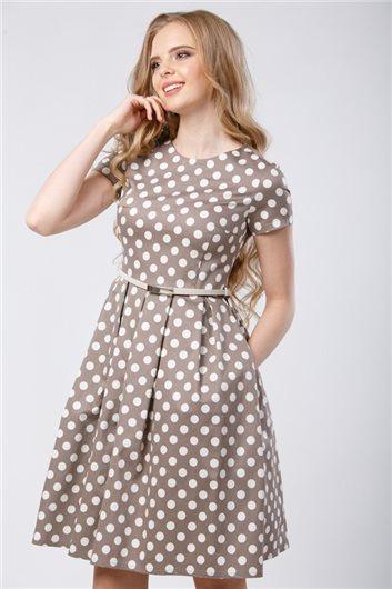 Платье М-325 бежевое в  горошек