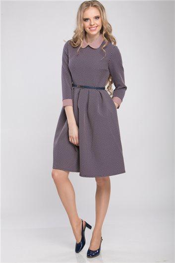 5160fcc535b Платье М-318 синее в розовый горошек