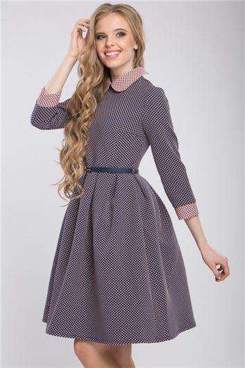 Платье М-318 синее в розовый горошек