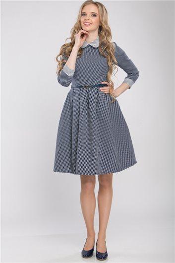 Платье М-318 синее в белый горошек